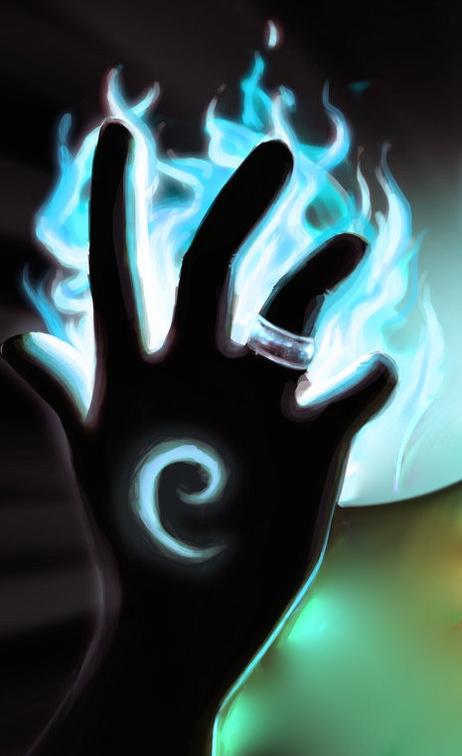 spiral hand blue flame